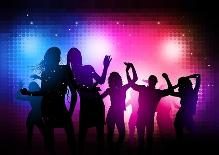 nightclub party: Party People Background - dancing young people.