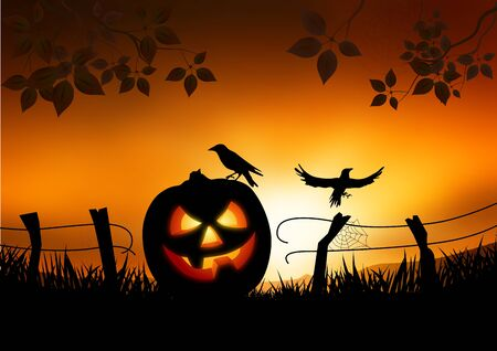 themed: Scary Halloween themed background  Illustration
