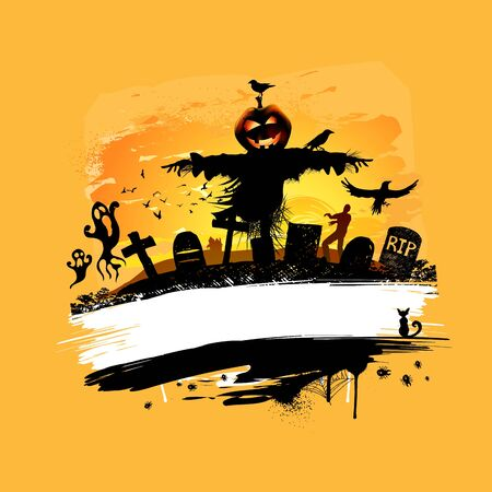 scarecrow: Halloween   background design with room for text. Illustration
