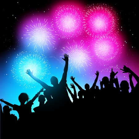 A crowd of people watching a fireworks display. Stock Vector - 7883483