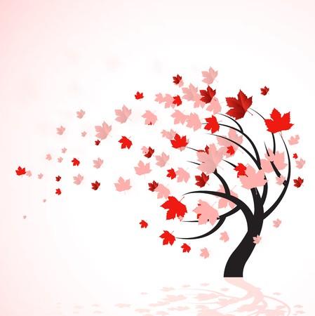 Ilustración de un árbol de otoño con rojo deja soplando en el viento.