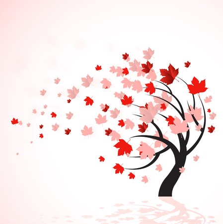 autumn scene:  illustration of a autumn tree with red leaves blowing in the wind.