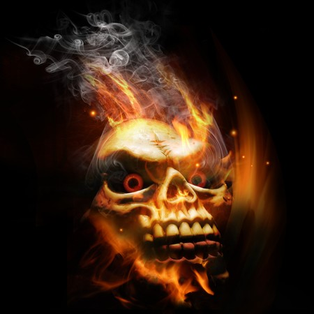 A burning skull with red eyes. photo