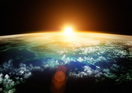 earth space: Planet Earth with a spectacular sunset.