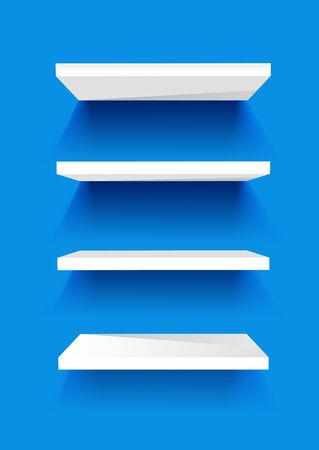 organised: White Book Shelves on a blue painted wall. Vector background.