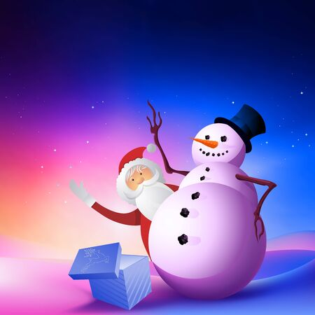 A snowman with Santa waving! Stock Photo - 8801837
