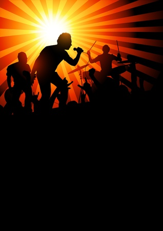 Your Band Background. Music band playing to a crowd of fans. Vector Stock Photo