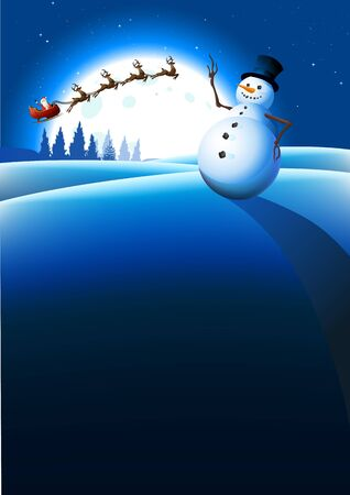 shopping list: Snowman Winter Background. Vector illustration Stock Photo