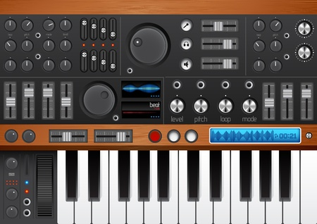 Pro Music Synthesizer/ Interface. High Quality with lots of detail for your musical design needs! Stock Vector - 8919027