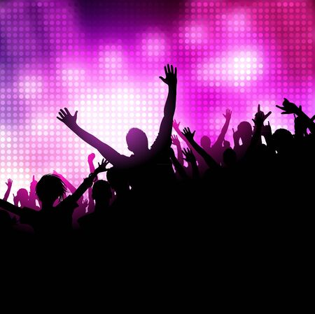 multitud: Un grupo de personas que tienen un buen momento. Multitud frente a un escenario. Vector Vectores