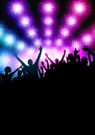 night light: Happy Party Crowd. Vector illustration