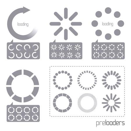 carga: Web 2.0 iconos de cargador de progreso de Vector. Una colecci�n de iconos de cargador de progreso de internet de vectores