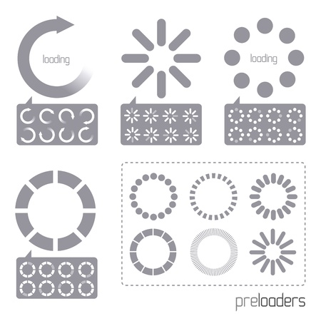 20: Web 2.0 Vector Progress Loader Icons. A collection of vector internet progress loader icons