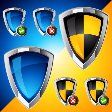 Internet Security Shield Set. Vector illustration. Stock Vector - 8918870