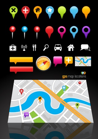planner: GPS Map Location Markers. Vector illustration Illustration