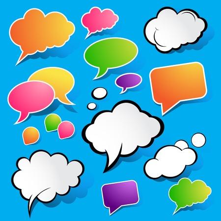 Cute Speech Bubbles, vector illustration. Stock Vector - 8918866