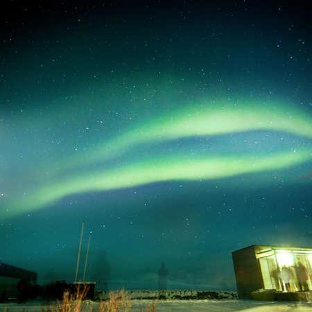 aurora borealis: aurora borealis over  Icelands National Park  Stock Photo