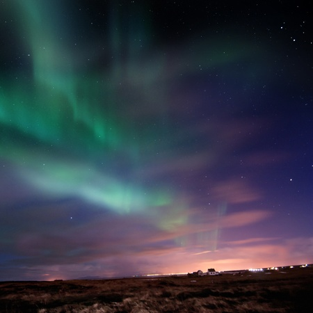 magnetic north: Bright Aurora Borealis (Northern Lights) over southern Iceland, Febuary 2011.