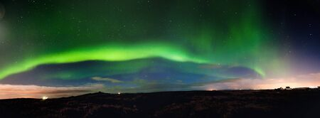 barns winter: Panoramic view of the Northern Lights, Iceland 2011.