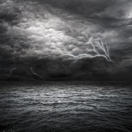 Atlantic Ocean Storm setting in. Lightning over storm clouds above the sea. Stock Photo - 8919039