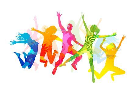 springende mensen: Zomer mensen springen. Gezond jonge mensen  Stockfoto