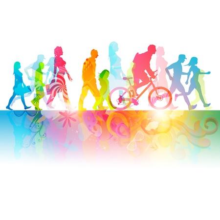 hacer footing: Varias personas modernas