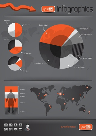 info chart: Business Infographics and charts.  Illustration
