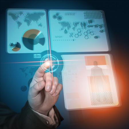 quantum: Modern Business Future. Conceptual future business technology. Stock Photo