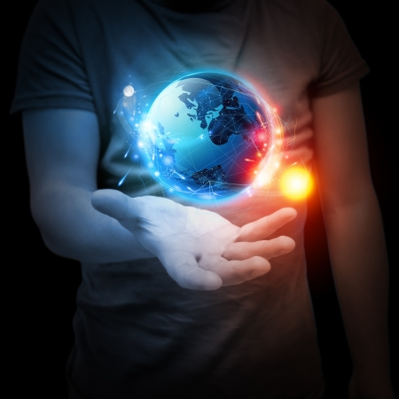sun and moon: Planet System in Your Hand. Conceptual Image. Stock Photo