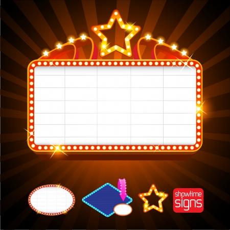 movie sign: Showtime signos Retro Vectores