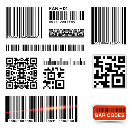 Kolekcja etykiet z kodem kreskowym wektor
