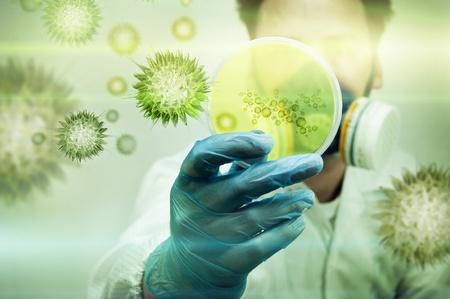 bacterias: Un cient�fico sosteniendo una placa de Petri con c�lulas de bacterias y Virus.