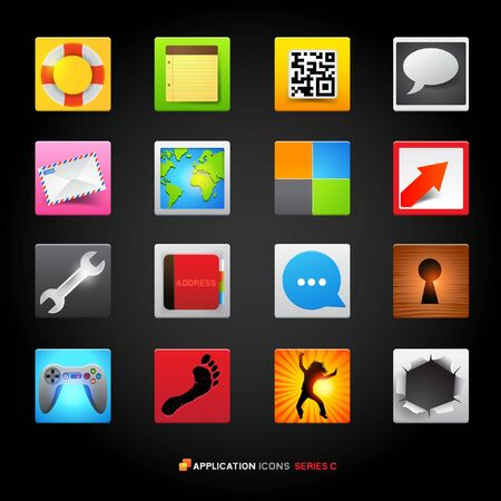 Icons and Applications set illustrations  Vector