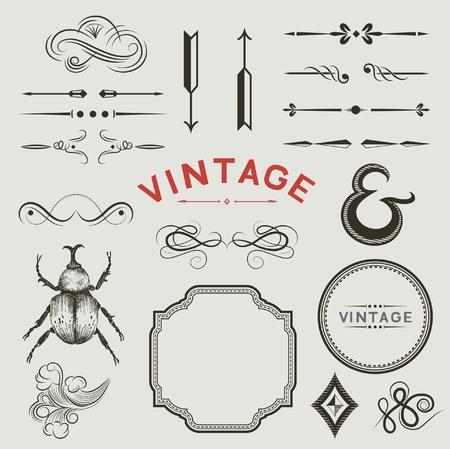 ビンテージ: ビンテージのデザインのコレクション  イラスト・ベクター素材