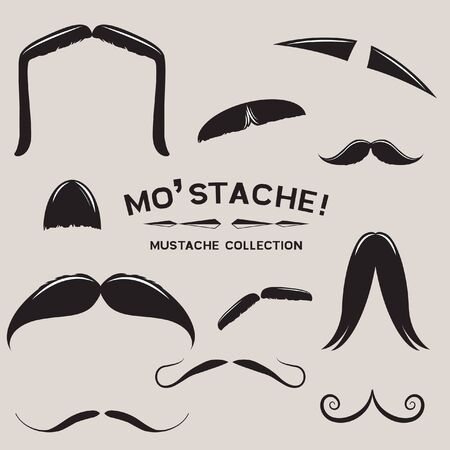 moustache: Mustachio Mustache  Design Set Illustration
