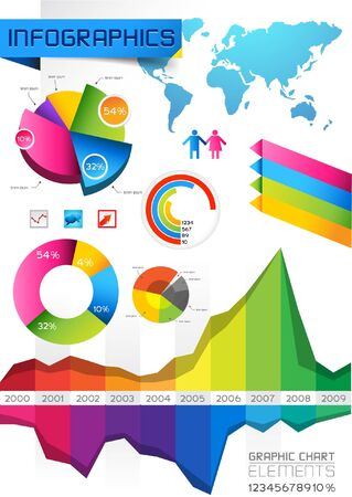 Infographic Elements with charts and graphs  Vector