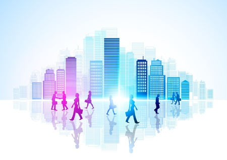 Urban City Life illustration with skyscrapers and city workers Stock Vector - 13176925