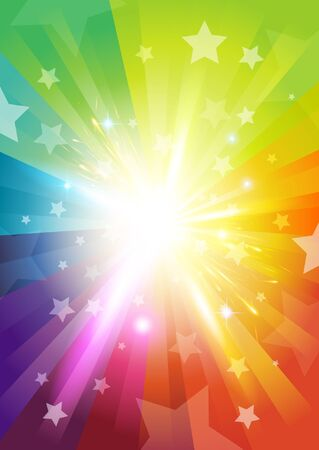 rainbow print: Colour Burst Background - with stars and transparencies