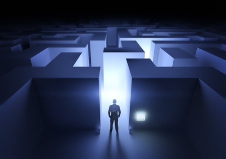 problem solution: Business Challenge - A businessman at the entrance to a maze. Stock Photo