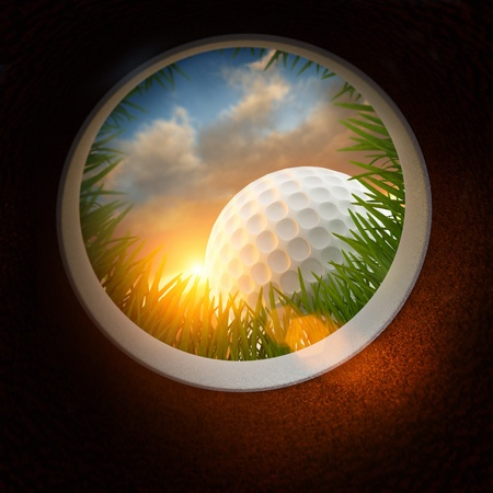 country club: Golf Ball and hole - Inside the hole Stock Photo