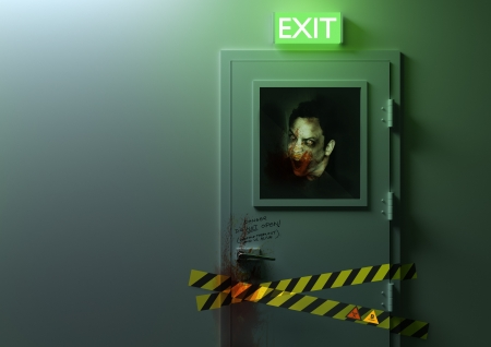 exit: No Exit - A zombie behind a door! Stock Photo
