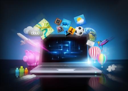 Modern Technology - media notebook concept  photo