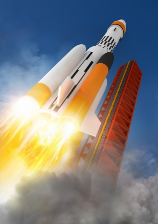 future space: Blast Off  A rocket launching into space