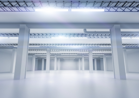 A clean industrial warehouse with lighting