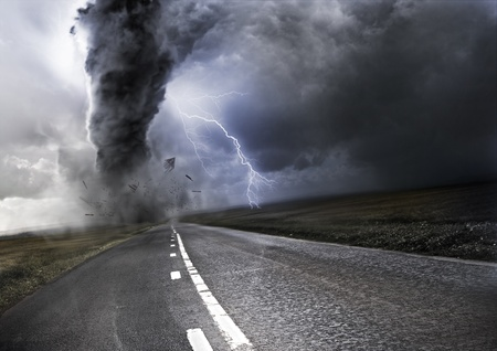 Powerful Tornado - destroying property with lightning in the background Stock Photo - 14487997