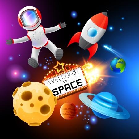 planeta tierra feliz: Elementos del vector del espacio, capas que incluye un astronauta y cohetes Vectores