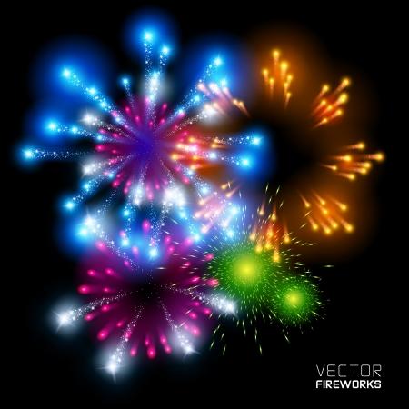 fuegos artificiales: Fuegos artificiales hermosos vectoriales, sobre un fondo negro