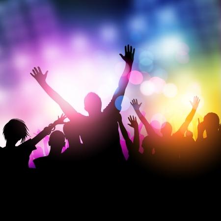 真夜中のパーティーの人々 - ベクトル イラスト