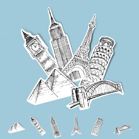 voyage: Destinations vectorielle Sticker Set de voyage Illustration