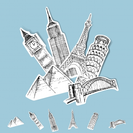 world travel: Vector Sticker Travel Destinations Set Illustration
